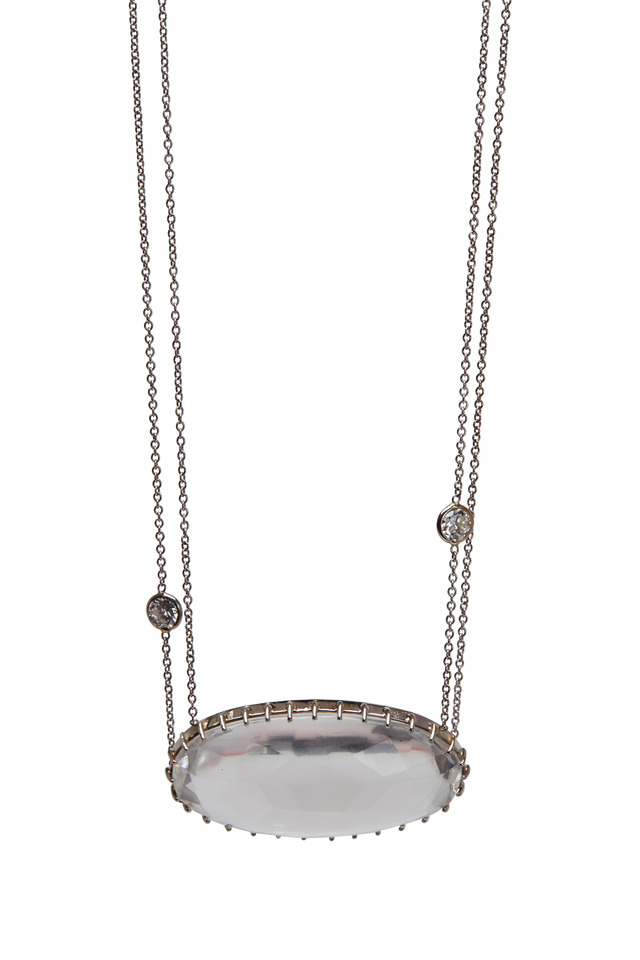White Gold Rock Quartz Diamond Necklace