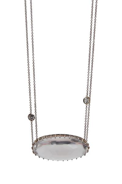 Renee Lewis - White Gold Rock Quartz Diamond Necklace