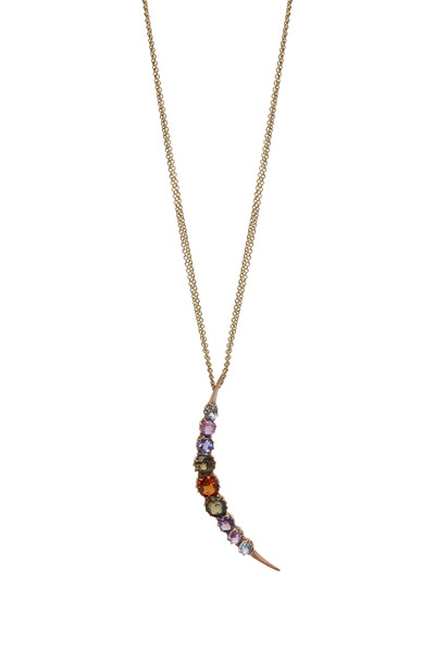 Renee Lewis - Colored Gemstones Crescent Moon Necklace