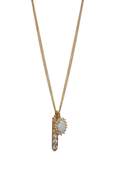 Renee Lewis - Yellow Gold Opal & Antique Diamond Necklace