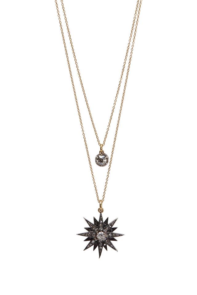 Yellow Gold Diamond Starburst Necklace
