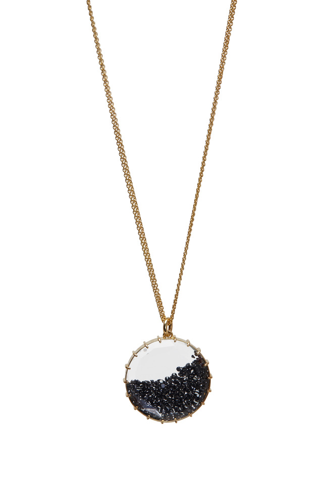 Yellow Gold Black Diamond Shake Necklace