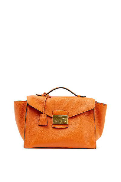 Prada - Orange Leather Flap Lock Medium Handbag