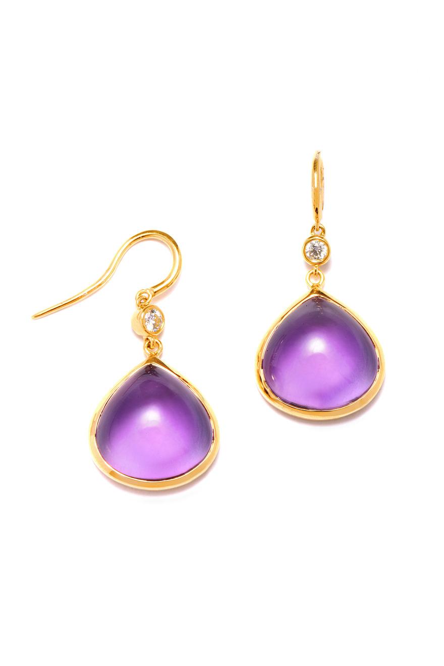 Amethyst Diamond Gold Heart Earrings