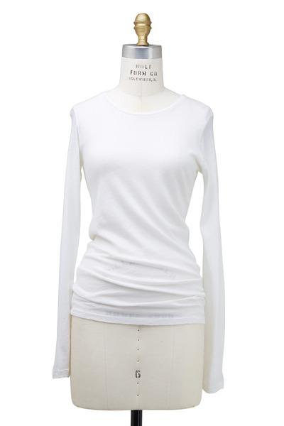 Majestic - White Cotton & Cashmere Top