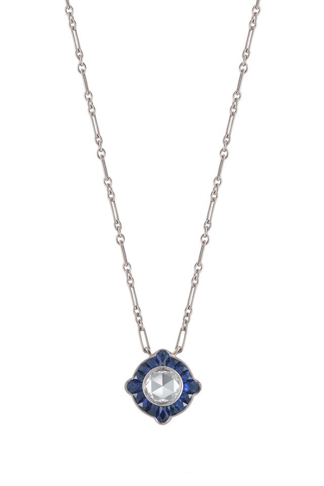 Vintage White Gold Blue Sapphire Diamond Pendant