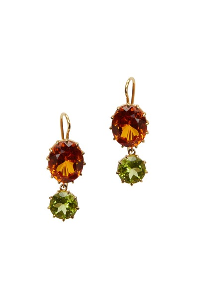 Renee Lewis - Yellow Gold Citrine & Peridot Earrings