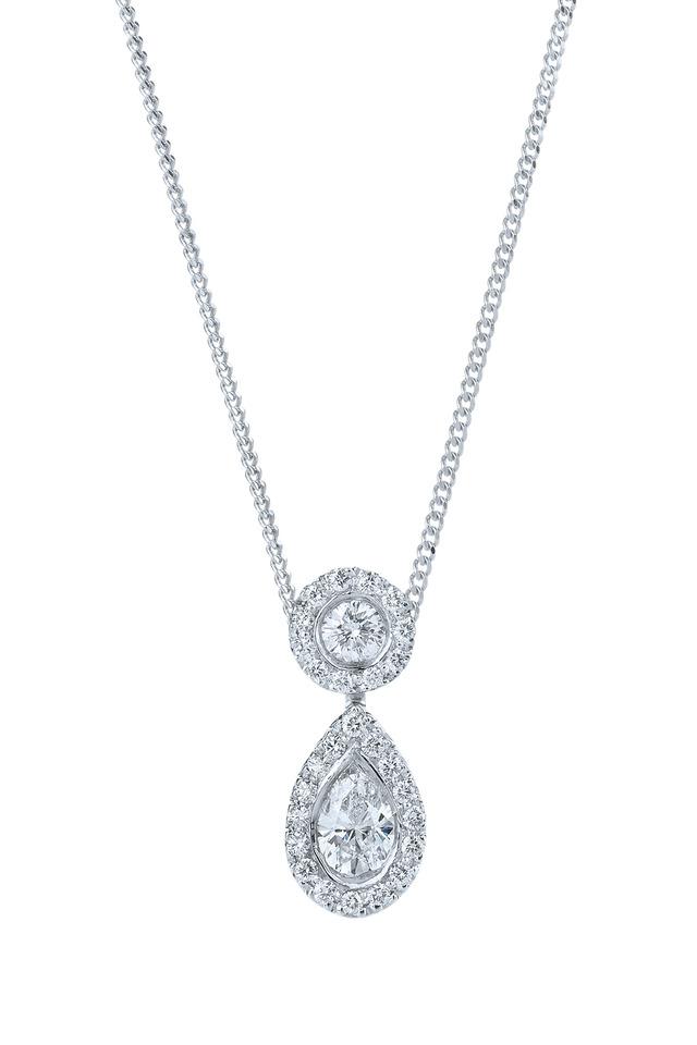 Silhouette Platinum Diamond Drop Pendant