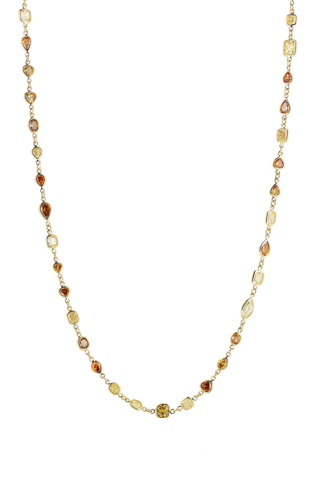 Yellow Gold Diamond String Necklace
