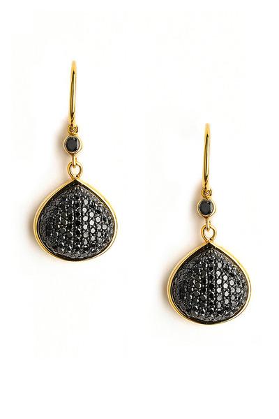 Syna - Black Diamond Gold Heart Earrings