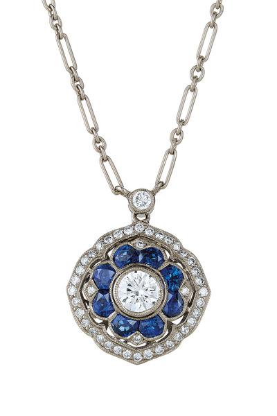 Kwiat - Vintage White Gold Blue Sapphire Diamond Pendant
