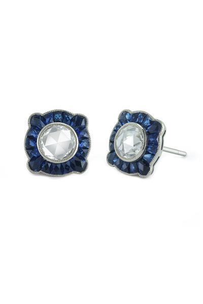 Kwiat - Vintage White Gold Sapphire & Diamond Earring
