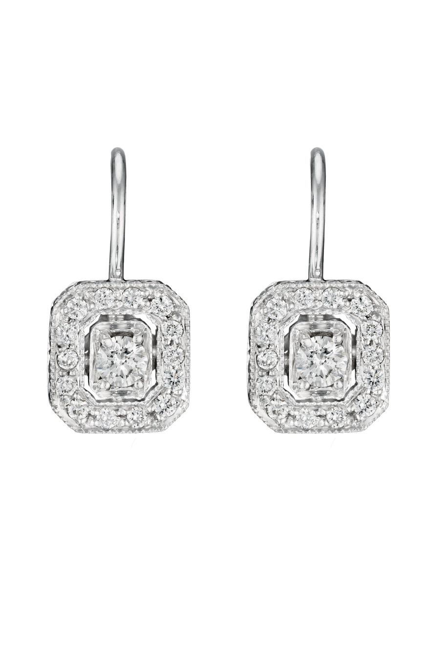 White Gold Engraved Emerald Shaped Diamond Earrings
