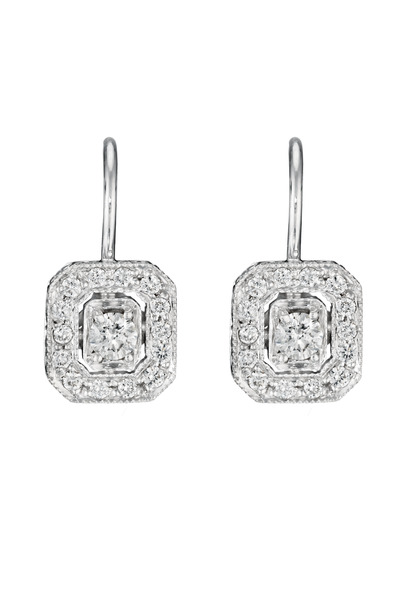 Penny Preville -  White Gold Engraved Emerald Shaped Diamond Earrings