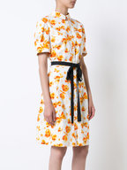 Carolina Herrera - White & Orange Butterfly Short Sleeve Shirtdress