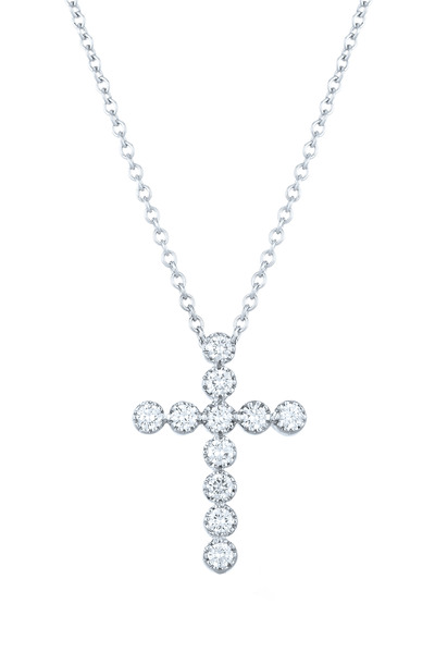 Kwiat - 18K White Gold Diamond Cross Pendant Necklace