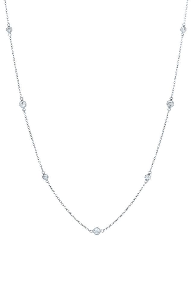 18K White Gold Diamond String Necklace