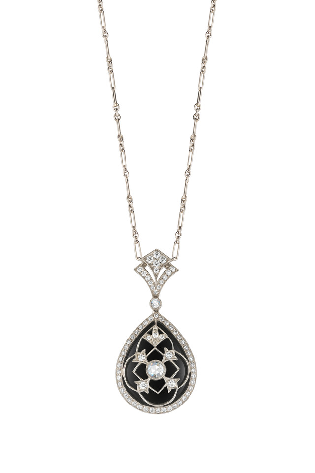 Vintage White Gold Black Onyx Diamond Pendant