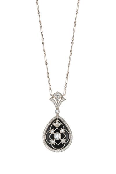 Kwiat - Vintage White Gold Black Onyx Diamond Pendant