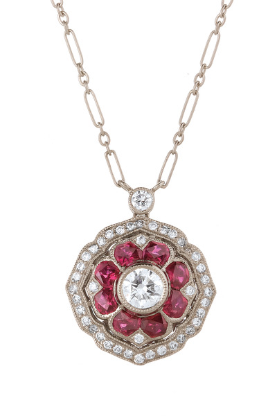 Kwiat - Vintage White Gold Mandala Ruby Diamond Pendant