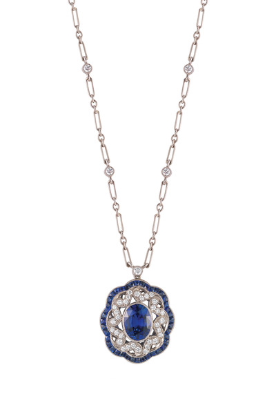 Kwiat - White Gold Sapphire & Diamond Pendant Necklace