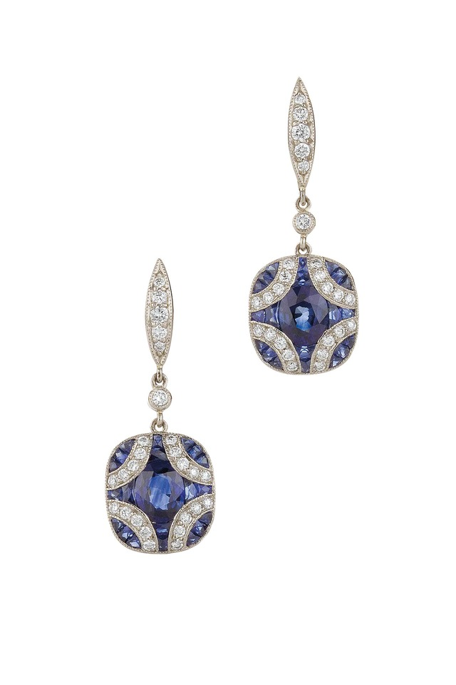 Vintage Gold Sapphire Diamond Dangle Earrings