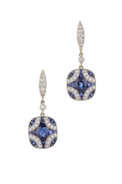Kwiat - Vintage Gold Sapphire Diamond Dangle Earrings