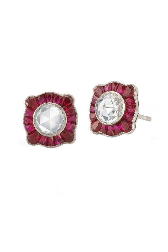 Vintage White Gold Red Ruby Stud Earrings