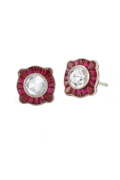 Kwiat - Vintage White Gold Red Ruby Stud Earrings
