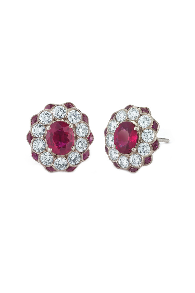 Vintage White Gold Ruby Diamond Flower Studs