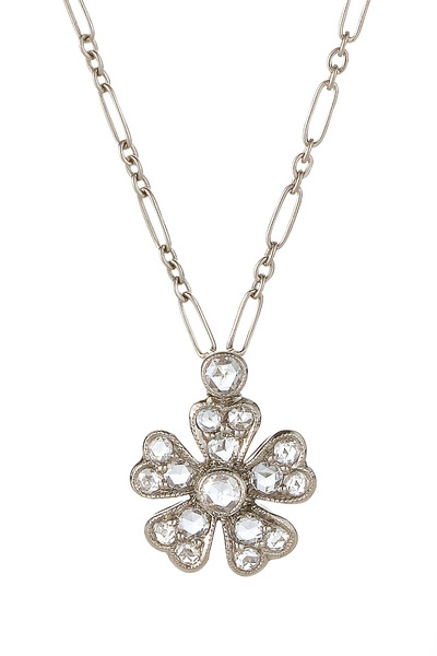 Kwiat - Vintage White Gold Diamond Flower Pendant