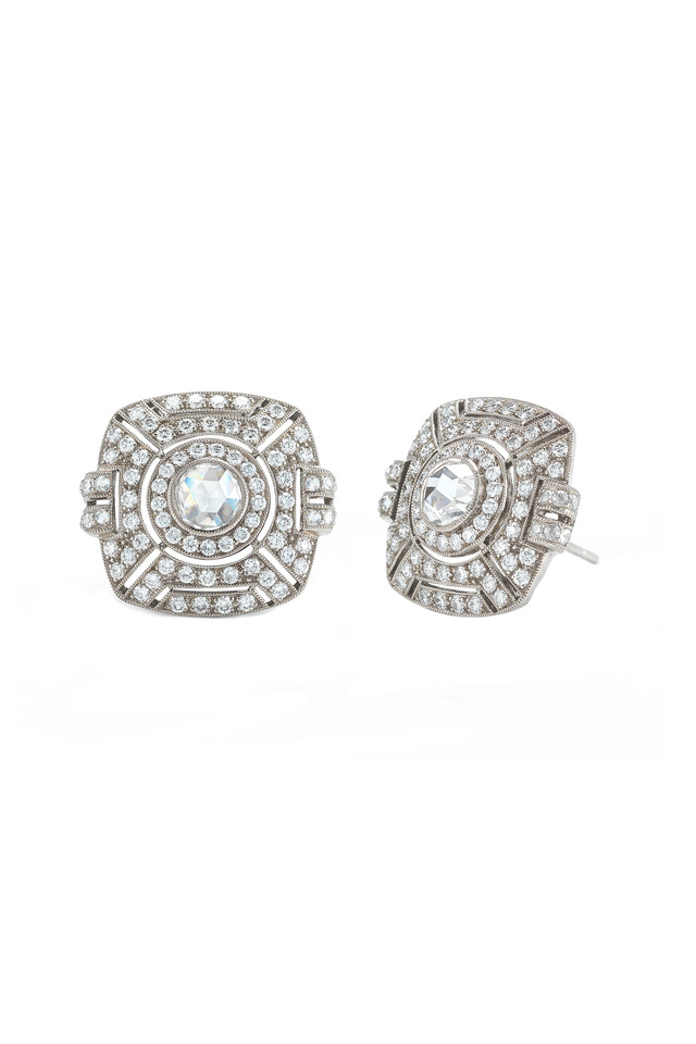 Vintage White Gold Diamond Button Earrings