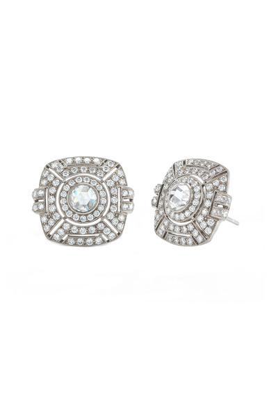 Kwiat - Vintage White Gold Diamond Button Earrings