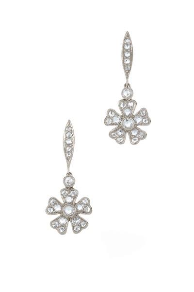 Kwiat - White Gold Diamond Flower Drop Earrings