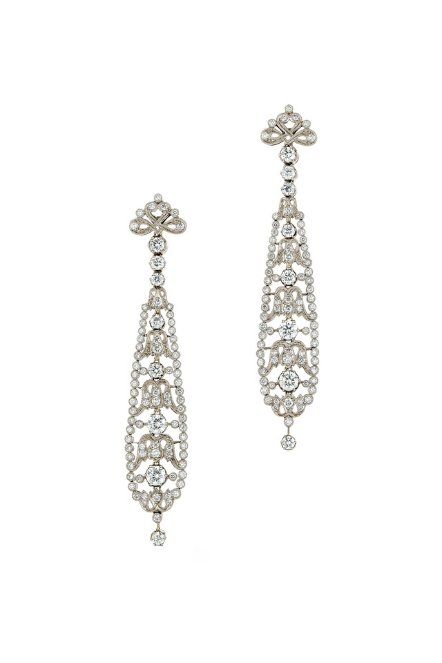 Vintage White Gold Long Diamond Dangle Earrings