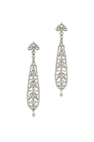 Kwiat - Vintage White Gold Long Diamond Dangle Earrings