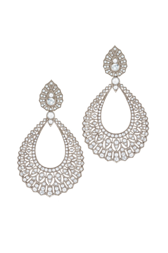 Vintage White Gold White Diamond Drop Earrings