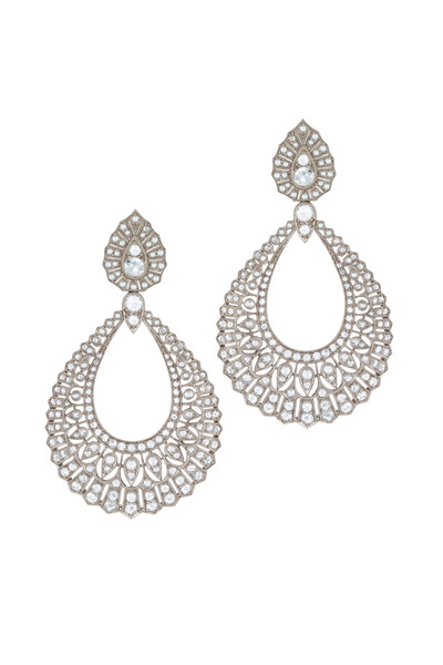 Kwiat - Vintage White Gold White Diamond Drop Earrings