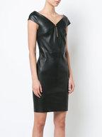 Jitrois - Diva Black Cap Sleeve Leather Dress