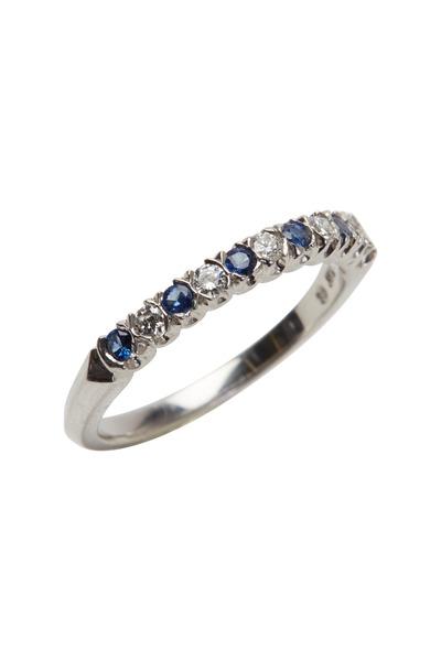 Oscar Heyman - Platinum Blue Sapphire & White Diamond Ring