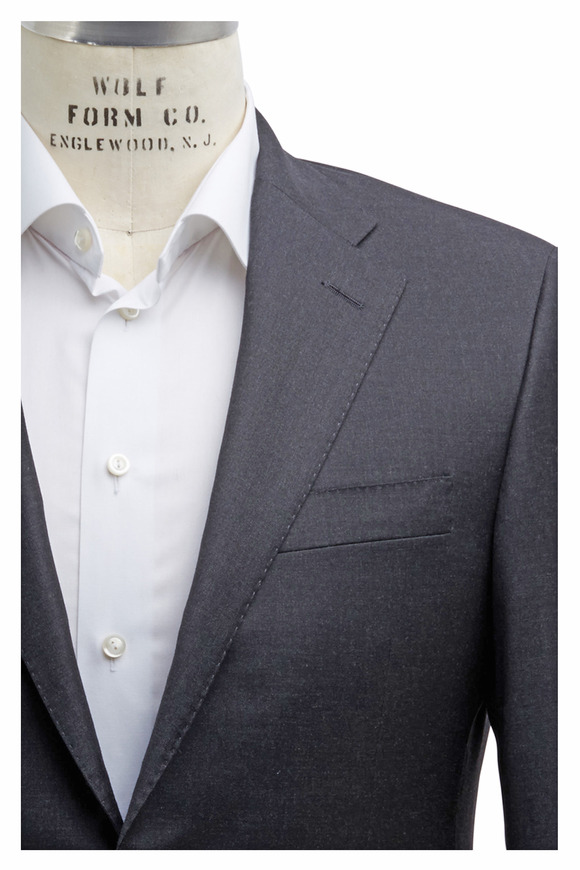 Hickey Freeman Beacon Solid Charcoal Gray Worsted Wool Suit