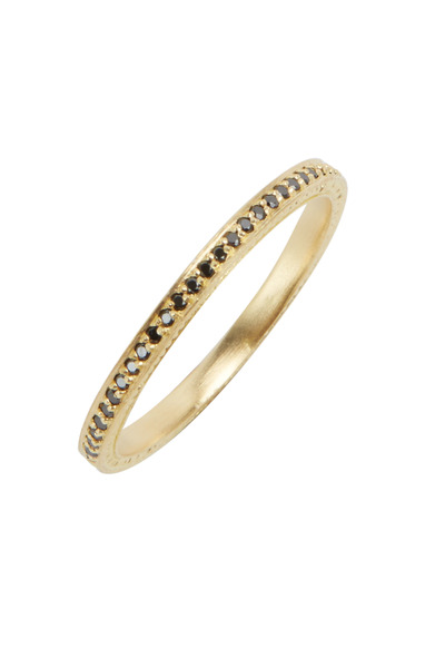Jamie Wolf - Yellow Gold Black Diamond Thin Band