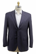 Kiton - Basic Navy Blue Striped Wool Suit