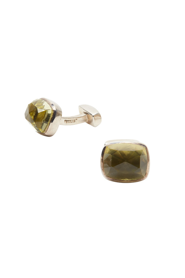 Sterling Silver Lemon Quartz Cuff Links