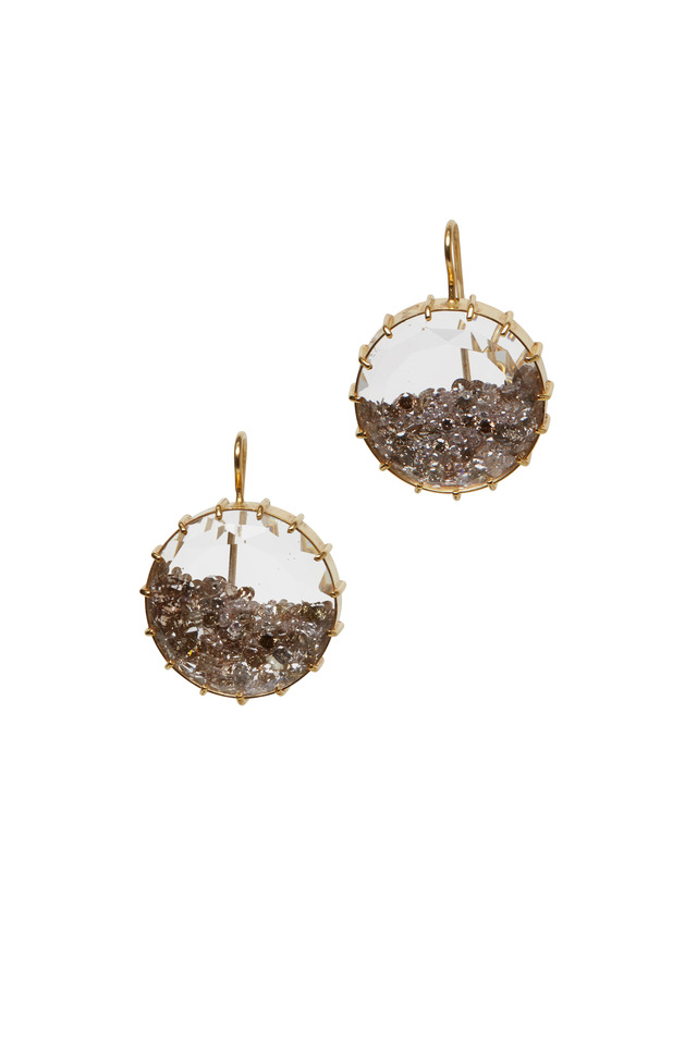 Yellow Gold Cinnamon Diamond Shake Earrings