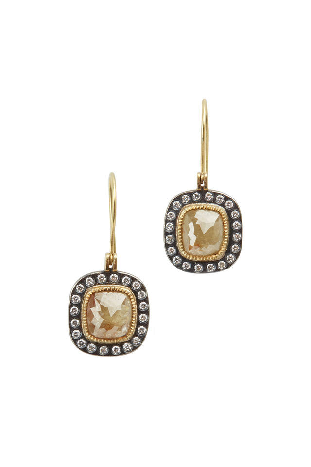 18K Gold & Silver Fancy Diamond Drop Earrings