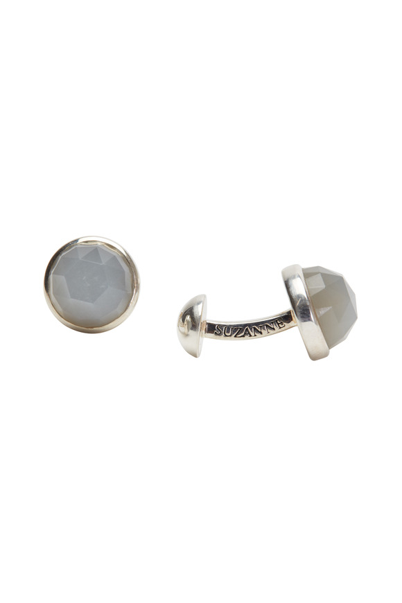 Suzanne Felsen Sterling Silver Gray Moonstone Cuff Links