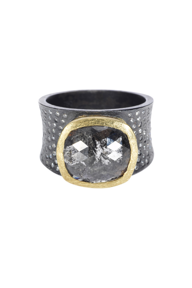18K Gold & Oxidized Silver Black Diamond Ring