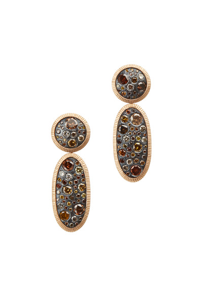 Todd Reed - Rose Gold Mixed Autumn Diamond Dangle Earrings