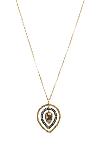 Todd Reed - Yellow Gold & Silver Red & White Diamond Pendant